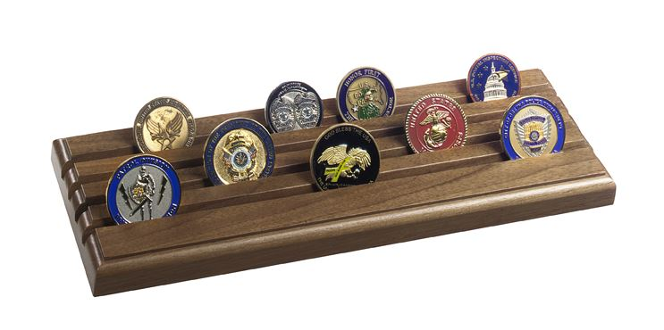 Challenge Coin Rack - Shell Casing 4-Row Coin Display